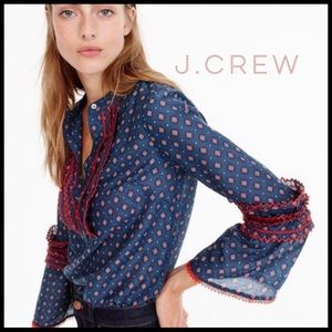 J.Crew Foulard Bell Sleeve Blouse. Stylish & Fun.